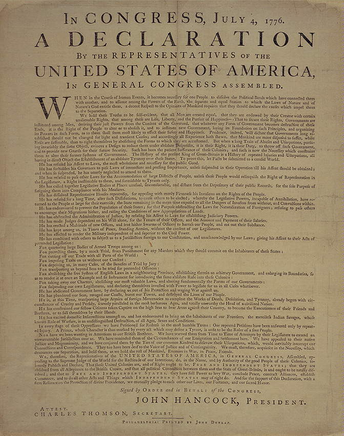 Declaration of Independence (printed version)